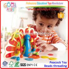 2015 Enfants Lovely Lacing Wooden Peacock Colorful Wooden Educational Kids Jouets de bonne qualité