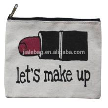 пользовательские печатные холст макияж мешок перемещения Логоса изготовленный на заказ