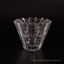 V Shaped High White Translucent Glass Tealight Candle Holders
