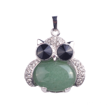 Newest Green Owl Shaped Silver Pendant Necklace for Women Jewelries Gift
