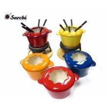 Set de fondue en fonte pour chocolat, fromage, bouillon ou huile. Élégant et élégant, mais robuste et robuste