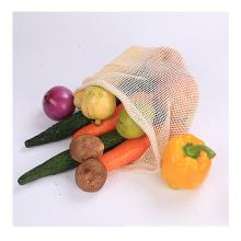 Folding shopping crafts string mesh drawstring shopping bag for fruit reusable cotton mesh bag