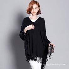 Mulheres fashion viscose malha inverno franja camisola tee (yky2058)