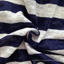 Tissu en rayures tricotées en lin (QF14-1547)