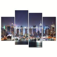 Нью-Йорк Гудзон реки холст стены искусства / современный город ночью холст печать / 4 панели холст картины оптом