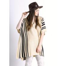 Дамы полосатый Рисунок хлопок вязаный мода пончо свитер (YKY2044)