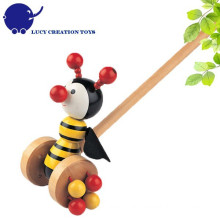 Preschool Kids Lovely Animal Toys Wooden Little Bee Push Toy