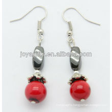 Wholesale red coral with hematite twist beads earring