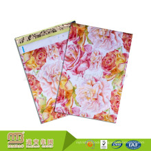 Water Resistant Vibrant Print Rose Design Biodegradable Plastic Custom Shipping Bags For Clothing