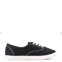 Black lace up casual shoes canvas sneakers for women