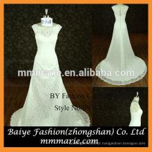 Mangas curtas vestido de noiva casamento vestido de barco doçura ver todo o vestido de meninas de renda completa