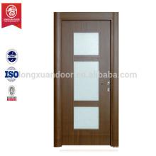 Interior pvc mdf puerta de diseño de vidrio de madera