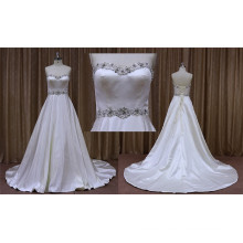 White Satin Simple Plain Wedding Dresses