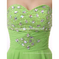 Custom made Evening dinner dress short green color sash elegant layers taobao evening dress