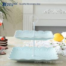 Square Shape Pretty Design Colorful Fine Porcelain Custom Logo Ceramic Dessert Plates Dishes, Reusable Christmas Two Tiers Plate