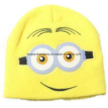 OEM Produce Cartoon Embroidered Yellow Chlidren Customized Acrylic Knitted Beanie