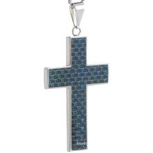 Azul Cruz Fibra de Carbono Pingente de jóias de aço inoxidável Fabricante