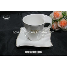 wave shape ceramic wholesale cups and saucers,ceramic cup with saucer,ceramic coffee cup and saucer