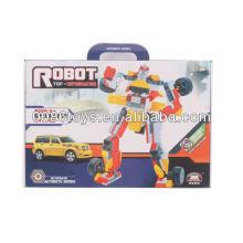 Robot de bloques de construcción educativos amarillo y rojo y plata