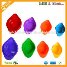 Aprobado por la FDA Food Grade Cook Tools Apilable plegable de silicona Alimentos Medición Copa / Silicona plegable medida tazas