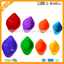 New Style Wholesale 4pcs A Set Lively Color High Quality Practical Custom Silicone Measuring Cups, Silicone Measuring Jug