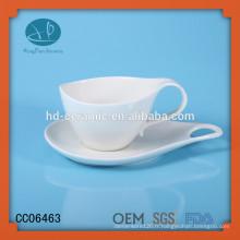 Tasse à thé et soucoupe en porcelaine et blanc massif, tasse à café expresso en céramique