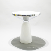 Modern Design Coffee End Tables Metal Stainless Steel Top Transparent Glass Base Side Table
