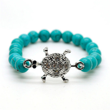 Turquoise 8MM Round Beads Stretch Gemstone Bracelet with Diamante alloy tortoise Piece