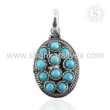 Joyería al por mayor de la plata esterlina 925 de la joyería de la piedra preciosa de la turquesa espléndida Joyería al por mayor