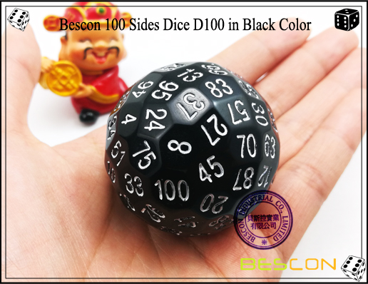 Bescon 100 Sides Dice D100 in Black Color-2