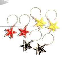 925 Silver Asymmetrical stylish star Earrings Women Champagne gold