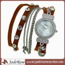 Fashion Wholesale Genuine Leather Watch Quartz Watch Women′s Watch