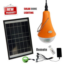 Rechargeable solar led lighting with 3 LED bulbs and mobile