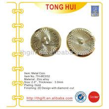 Золотое покрытие Резьба Металлическая памятная монета, сувенирная монета