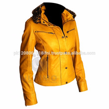 yellow hodded leather jacket for women d
