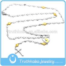 Top vente haute qualité chapelet conception haute collier en forme de perle en acier inoxydable croix collier avec pendentif croix