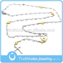 Top Sale High Quality Rosary Design High Collar Hear Shaped Bead Style Stainless Steel Cross Necklace With Cross Pendant