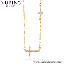 44510 xuping 18 k oro color venta al por mayor joyas de moda religión cruz collar para damas