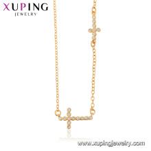 44510 xuping 18 k or couleur en gros mode bijoux religion croix collier pour dames