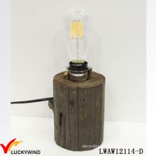 Old Aged Farmhouse Vintage Wood Base Table Lamp