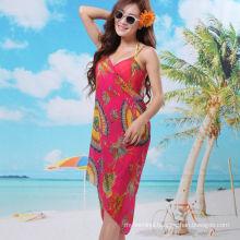 2017 stylish vacation dress bali sarong chiffon scarf floral beach pareo