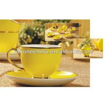 yellow glaze15pcs lined with edible gold coffee set bone china coffee cup set