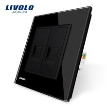 Производство Livolo Панель из черного хрусталя, 2 банды, настенная телефонная и коммуникационная розетка / розетка VL-C791TC-12 без штепсельного адаптера
