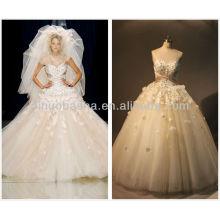 Реальные фото фантастический бальное платье свадебное платье милая Пол-длина 2014 аппликация из бисера кружева-up свадебное платье NB024