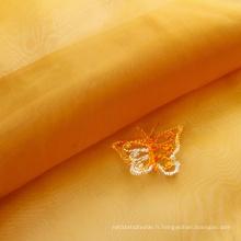 Tissu de rideau brodé indien en jacquard d'organza imprimé