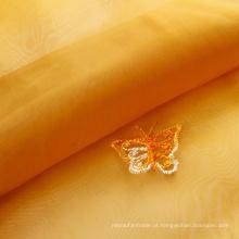 Tecido para cortina bordado indiano em organza jacquard estampado