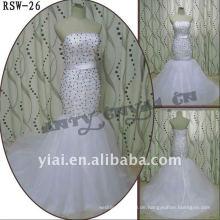 RSW-26 2011 heiße Verkaufs-neue Entwurfs-Damen modische elegante kundengebundene schwarze und silberne Korn-Nixe-Brautkleid