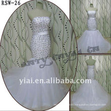RSW-26 2011 Hot Sell New Design Ladies Fashionable Elegant Customized Black And Silver Beads Mermaid Bridal Dress