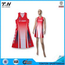 Alta qualidade Sublimation Custom Netball Dress