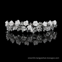 Baroque Leaf Headpiece Accessories Princess Silver Thin metal Fancy rhinestone Small flower crystal crown Tiara headband